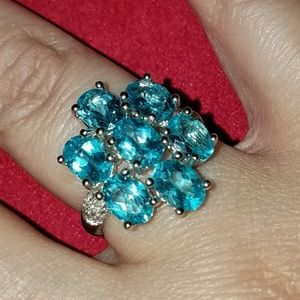 Paraiba Color Apatite Sterling Silver Ring 8